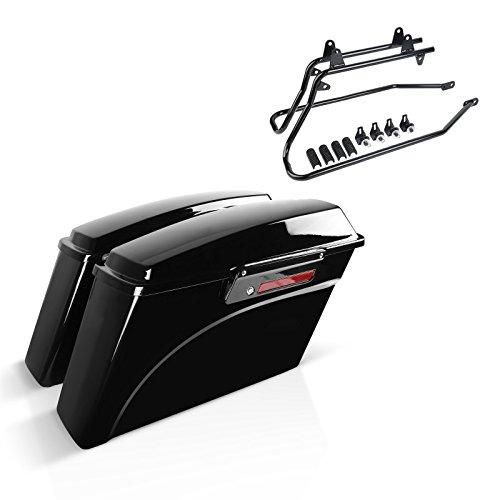 Set mit Seitenkoffer und Kofferträger für Harley Davidson Heritage Softail Classic 88-13 Latch schwarz