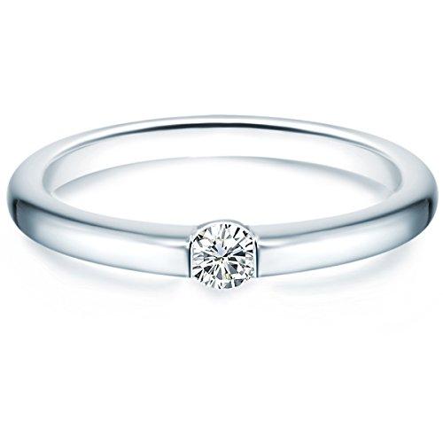 Tresor 1934 Annelli da Donna / Anello di fidanzamento in Argento Sterling 925 con rodio Zircone bianco Taglia 14 60451021