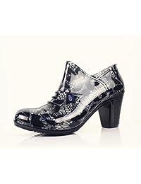 SISHUINIANHUA Áspero Alto con Las señoras Botas de Lluvia Baja/Botas de Lluvia con Cremallera/Zapatos Impermeables/Zapatos de Goma, 38, Grey