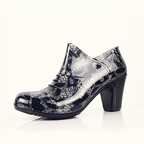 SIHUINIANHUA Rough High mit Damen Niedrigen Regen Stiefel/Reißverschluss Regen Stiefel/Wasserdichte Schuhe/Gummi Schuhe, 38, Grey