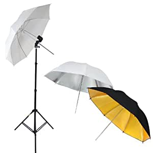 DynaSun W969 Kit d'éclairage Professionnel Studio Photo Vidéo avec Trépied, Douille, 3x Parapluie Blanc + Argent + Or Noire et Sac