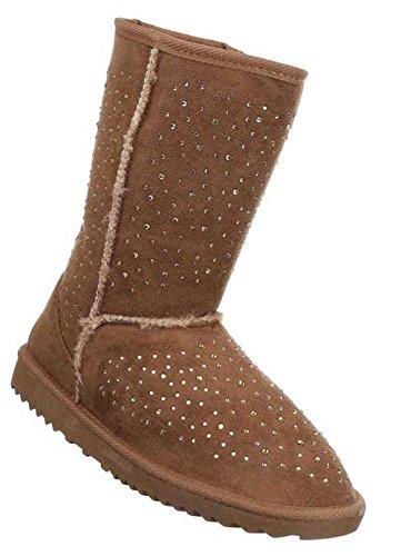 Damen Stiefel Schuhe Warm Gefütterte Boots Schwarz Braun