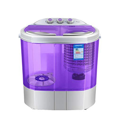 Portable Waschmaschine Upgrade, Top Open - Kompakt Transparente Doppel Badewanne 2.2KG / 4.8 Lb. KapazitäT FüR WäScherei Apartment Schlafraum RV Camping, Blau/Lila
