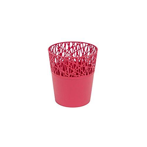 Rond cache-pot 11.5 cm CITY en plastique romantique style en framboise