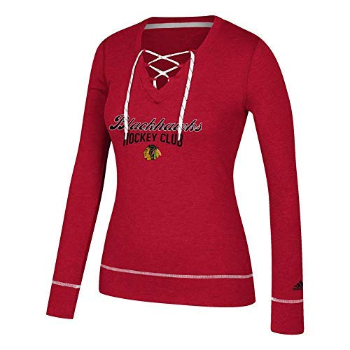 adidas Women's Chicago Blackhawks Long Sleeve Skate Lace Top (Medium) (Long Womens Chicago Sleeve)