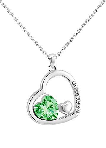 Collana-yparah-Doppio Cuore Verde in cristallo di Swarovski
