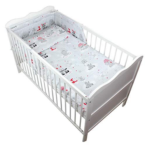 TupTam Baby Bettwäsche mit Nestchen Gemustert 3-TLG, Farbe: Baby Tiere Grau/Rot, Anzahl der Teile:: 3 TLG. Set (Rote Baby-bettwäsche)