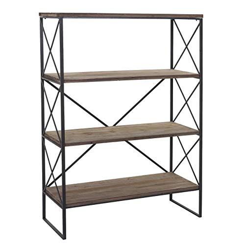 Handel Sammlung Ziehen (Bücherregal HWC-C10, Standregal Wohnregal, Echtholz Metall ~ 4 Ebenen, 142x100cm)