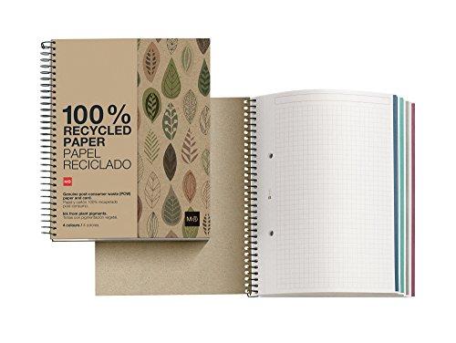 Miquelrius 2872 - Notebook 4 cartón reciclado ecojohas m (DIN A5, 148 x 210 mm, 120 hojas, 80 g/m², cuadrícula)