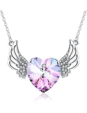 Halskette Damen Engel PLATO H Engels Flügel bewachte Herz hängende Halskette mit Swarovski Kristall Geschenk für...