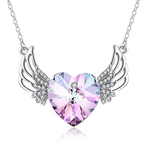 Collier Pendentif Coeur PLATO H Ange Ailes Gardé Coeur Collier Pendentif avec un Cadeau de Cristal Swarovski Pour Elle, Rose