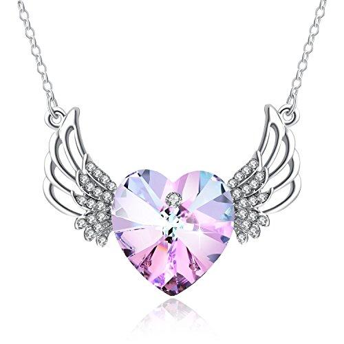 Tiffany Natur Rose (Halskette Damen Engel PLATO H Engels Flügel bewachte Herz hängende Halskette mit Swarovski Kristall Geschenk für sie, Rosen Rosa)