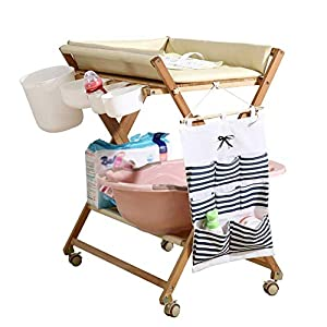 Baby Changing Table Portable Mobile Infant Care Station with Storage Box, Foldable Diaper Station Wooden (Color : White)   1
