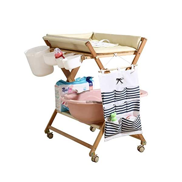 Baby Changing Table Portable Mobile Infant Care Station with Storage Box, Foldable Diaper Station Wooden (Color : White) GUYUE Beech Material: Birch wood hard, good load bearing performance, no deformation, strong pressure resistance, clear texture. High-grade PU Leather: It has excellent wear resistance, excellent breathability, aging resistance, soft and comfortable. Size: As shown, 80x56x(80-85-90-95)cm, Bearing weight 150kg. 1