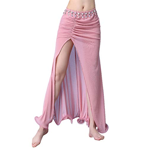 YiiJee Damen Tanz Kostüme Bauchtanz Rock Tribal Belly Dance Dancewear Pink M