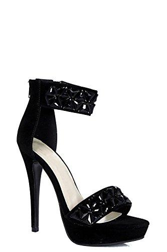 Damen Schwarz Jasmine Verzierte, Zweiteilige Plateau-sandalen Schwarz