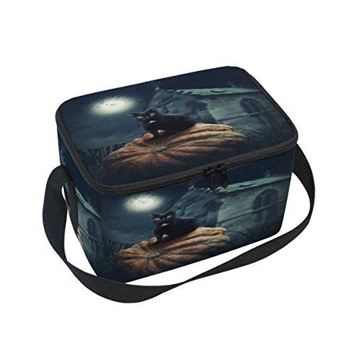 DOSHINE Halloween Tier Katze Kürbis Mond Isolierte Lunch Box Tasche, Kühler Ice Lunch Tasche Wiederverwendbar für Männer Frauen Erwachsene Kinder Jungen Mädchen