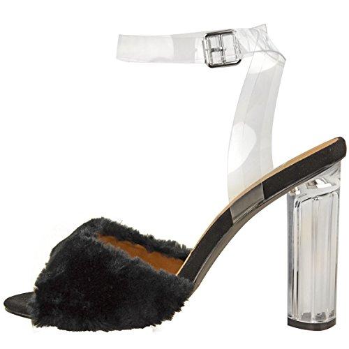 Sandales à brides - talons hauts/larges/transparents - fausse fourrure - femme Faux suède noir/fausse fourrure
