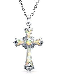 Bling Jewelry Piedra precioa Plata Esterlina CZ Blanco Cruz Colgante Ópalo religioa