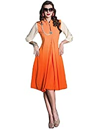 Lords Orange Georgette Stitched Printed With Embroidery Kurti