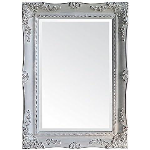 Moycor Decoracón - Espejo, marco de madera, 85 x 115 cm, color blanco