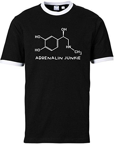 EZYshirt® Adrenalin Junkie Herren Rundhals Ringer T-Shirt Schwarz/Weiss/Weiss
