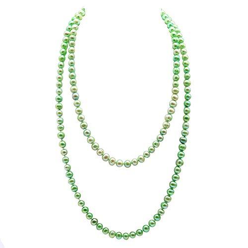 jyx grün Halskette Pearl, für women 35.5-7 - 8 mm Hellgrün flach SWZ Perle Opera Halskette (Sammeln Sie Ihre Zutaten)
