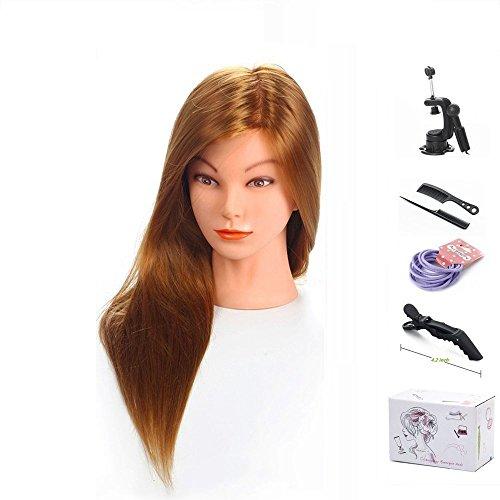 Trainingsköpfe für Friseure, MYSWEETY 20 '' inch Langes Haar Mannequin Kopf Übungskopf Friseur Cosmetology Mannequin Trainingsmodell mit Clamp und Zubehör