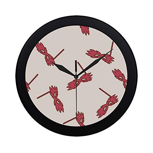 WYYWCY Moderne einfache Karikatur-Partei-Masken-Wanduhr-Innenauslauf-Bewegungs-Wand Clcok für Büro, Badezimmer, Wohnzimmer dekorativ 9,65 Zoll