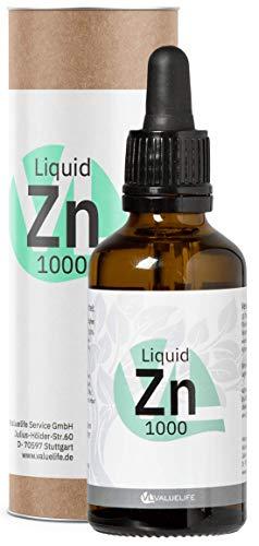 Triple Ionic Zinc - Spurenelement Zink - 1000 Tropfen Zinkionen gelöst in Wasser - Maximale Bioverfügbarkeit - Zinkgluconat, Zinkbisglycinat & Zinkascorbat - 50ml von VALUELIFE