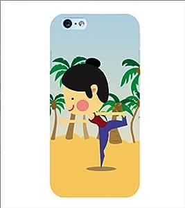 PrintVisa Designer Back Case Cover for Apple iPhone 6S (Animated Girl Doing Yoga)