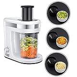 Russell Hobbs Ultimate - Cortador eléctrico de verduras y fruta en espiral (espiralizador), incluye 3 accesorios para cortar, 300 W, color blanco y gris, sin BPA - ref. 23810-56
