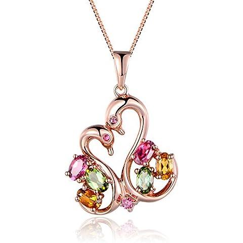 Aischalove Collana con pendente amore cigno naturale multicolore Tourmaline oro rosa placcato argento 925 gioielli per le donne