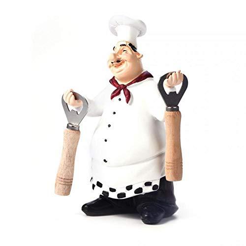 AOLVO Italienische Chef-Figur Küchendekoration mit Flaschenöffner Home Kitchen Restaurant French Chef Figur Fat Chef Figur, 03 Fat-chef