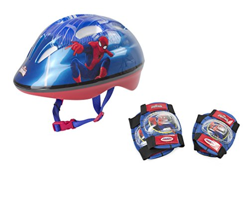 Marvel Kinder OSPI204 D'arpeje Spiderman Safety Set Helmet 2 Pad, deep Blue, S
