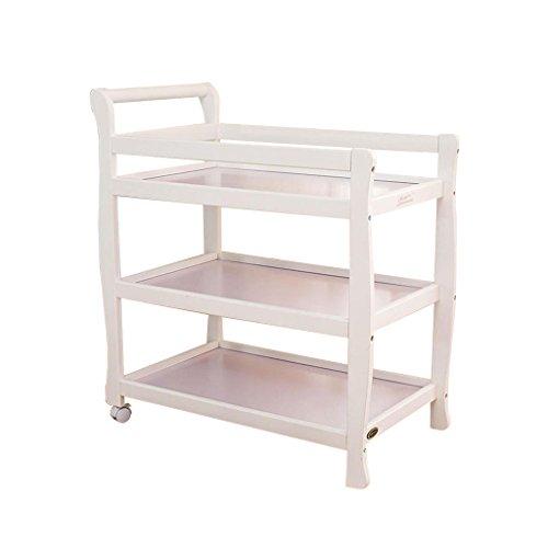 DS- Babyzaun Baby Wickeltisch DREI Schichten Massivholz Baby Pflege Schreibtisch Dusche Stand Massage Tabelle Zwei Runden abnehmbar für 0~3 Jahre alt&& (Farbe : Weiß)