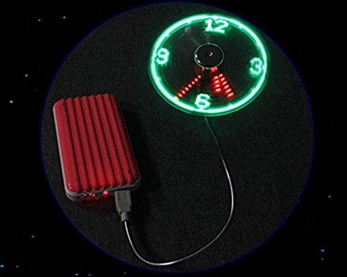 Mini USB Ventilator, Mini USB LED Clock Fan Message Fan mit flexibler Schwanenhals LED Display Erinnerung Funktion For PC Notebook Desktops USB-Uhr mit biegsamen Ventilator für den Schreibtisch (Grün)