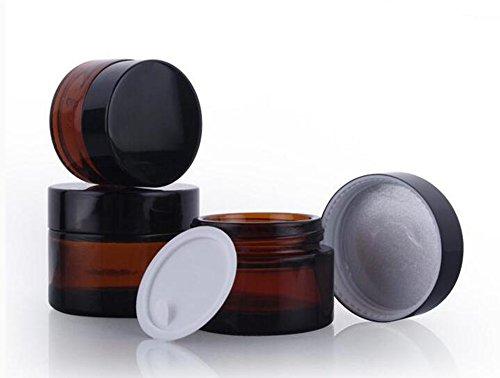 2Stück 50ml/100ml braun nachfüllbare Kosmetik-Gläser mit Glas und Schrauben, Schwarz, leer-Face Cream Lip Balm-Behälter-Flasche für Balsam mit Beauty, Kosmetik, Creme, Lotion