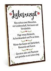 TypeStoff Holzschild mit Spruch - LIEBESREZEPT - Grafik-Bild bunt, Schild, Wandschild, Türschild, Holztafel, Holzbild als Geschenk und Dekoration (19,5 x 28,2 cm)