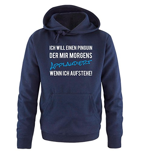 Comedy-Shirts -  Felpa con cappuccio  - Maniche lunghe  - Uomo Navy / Weiss-Blau