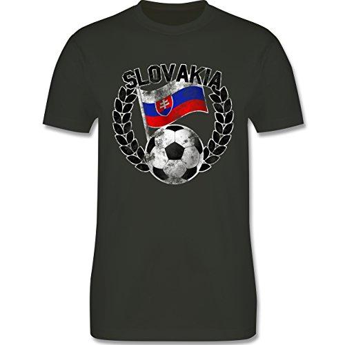 EM 2016 - Frankreich - Slovakia Flagge & Fußball Vintage - Herren Premium T-Shirt Army Grün