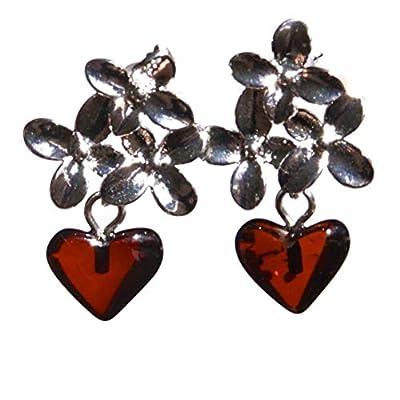 Boucles d'oreilles fleur avec coeurs ambre