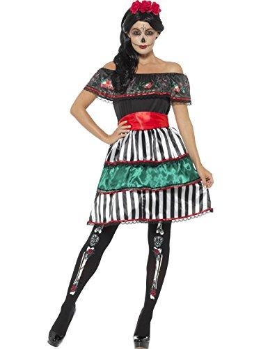 Smiffys Damen Tag der Toten Senorita Puppen Kostüm, Kleid, Gürtel und Kopfband, Größe: 36-38, 48077