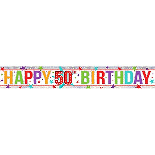 Amscan - 9900013 2,7 m Happy 1st Birthday Boy holográfica Foil Banner