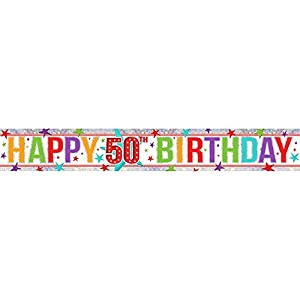 Amscan 9900005 2.7 M Happy Birthday Add un Edad holográfica Foil Banner