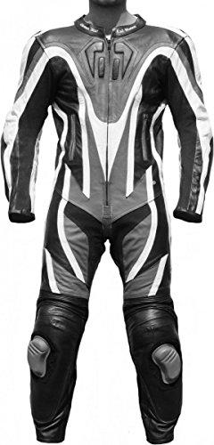 Einteiler Motorradkombi Motorrad Lederkombi aus Rindsleder echtleder Kombi Grau, Größe:54