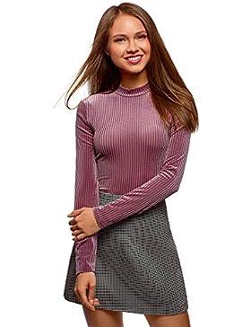 oodji Ultra Mujer Suéter de Cuello Alto Texturizado de Terciopelo