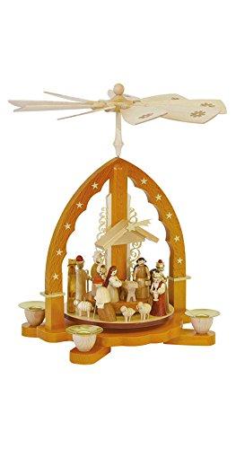 Pyramide de Noël scène de la Nativité, hauteur 27 cm, naturel, Erzgebirge originale de Richard Glaesser