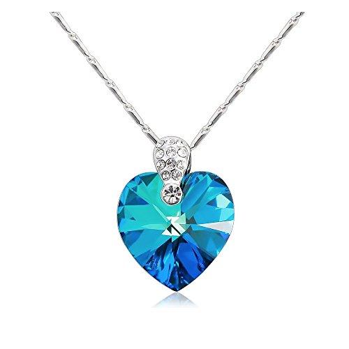 """'""""Imperiale Blu Collana con ciondolo cuore blu costellato di cristalli di Swarovski"""