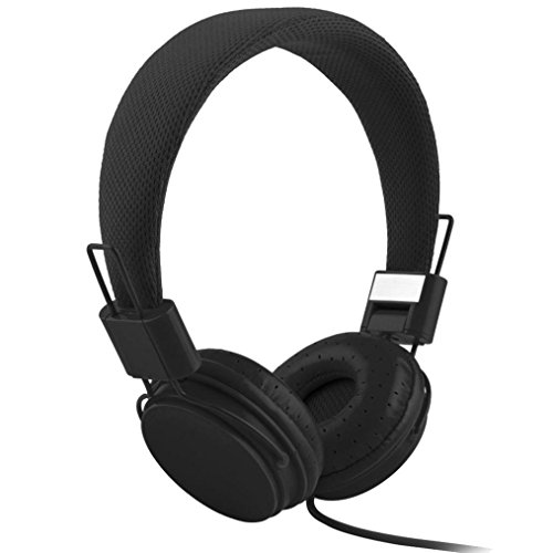 Gaddrt Écouteurs câblés, casque pliable réglable avec microphone stéréo micro (Noir)